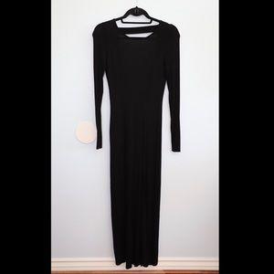 Long black, open back, double slit dress